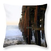 Ocean Wave Storm Pier Throw Pillow