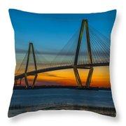 Arthur Ravenel Jr. Bridge At Sunset Throw Pillow