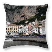 Views From The Amalfi Coast In Italy Throw Pillow