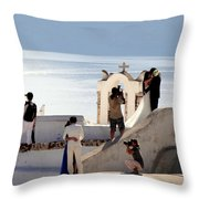 The Shoot On Santorini In Greece Throw Pillow