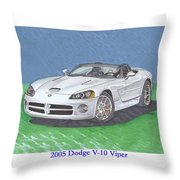 2005 Dodge V-10 Viper Throw Pillow