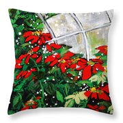 2013 010 Poinsettias And Dots Conservatory At The Us Botanic Garden Washington Dc Throw Pillow
