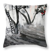 2013 058 Tree And Ladder Alexandria Virginia Silver Black White Red Throw Pillow