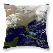 2013 Blizzard In Northeast Nasa Throw Pillow
