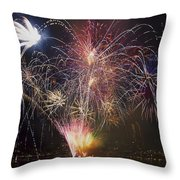 2013 Independence Day Fireworks Display On Portland Oregon Water Throw Pillow