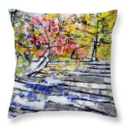 2014 19 Silver And Blue Stairs To Pink And Yellow Woods Srpsko Sarajevo Throw Pillow