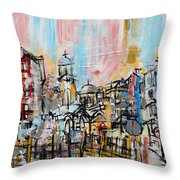 2014 23 City Street With Church At Sunset Srpsko Sarajevo Throw Pillow