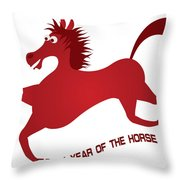 2014 Abstract Red Chinese Horse Illustration Throw Pillow