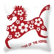 2014 Abstract Red Chinese Horse With Flower Illustration Throw Pillow