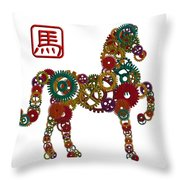 2014 Chinese Wood Gear Zodiac Horse Illustration Throw Pillow