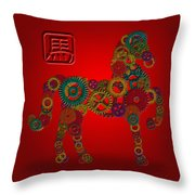 2014 Chinese Wood Gear Zodiac Horse Red Background Throw Pillow