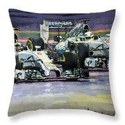 2014 F1 Mercedes Amg Petronas  Lewis Hamilton Vs Nico Rosberg Throw Pillow