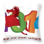 2014 Horse Leaping Over Numerals Isolated Throw Pillow
