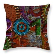 2014 Rusty Gear On Grunge Texture Background Throw Pillow