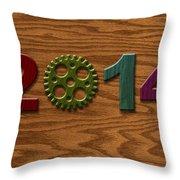 2014 Wooden Gear On Wood Grain Texture Background Throw Pillow