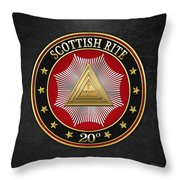 20th Degree - Master Of The Symbolic Lodge Jewel On Black Leather Throw Pillow