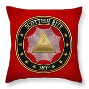 20th Degree - Master Of The Symbolic Lodge Jewel On Red Leather Throw Pillow