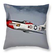 A P-51d Mustang In Flight Throw Pillow