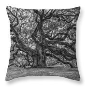 Angel Oak Tree In Black And White Throw Pillow