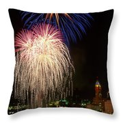 21l106 Red White And Boom Fireworks Photo Throw Pillow