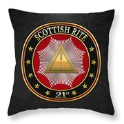 21st Degree -  Noachite Or Prussian Knight Jewel On Black Leather Throw Pillow