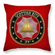 21st Degree - Noachite Or Prussian Knight Jewel On Red Leather Throw Pillow