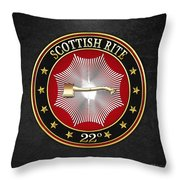 22nd Degree - Knight Of The Royal Axe Jewel On Black Leather Throw Pillow