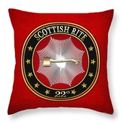 22nd Degree - Knight Of The Royal Axe Jewel On Red Leather Throw Pillow