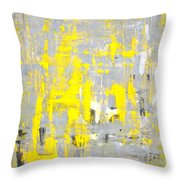 Imagination - Grey And Yellow Abstract Art Painting Throw Pillow