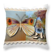 24 Cent Butterfly Stamp Throw Pillow