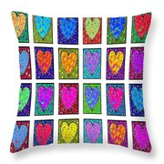 24 Hearts In A Box Throw Pillow