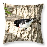 Rose Breasted Grosbeak Throw Pillow