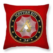 24th Degree - Prince Of The Tabernacle Jewel On Red Leather Throw Pillow