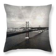 25 De Abril Bridge II Throw Pillow by Marco Oliveira