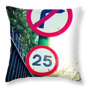 25 Mph Road Sign Throw Pillow