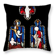 Religious Stained Glass Window Throw Pillow