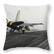 An Fa-18c Hornet Launches Throw Pillow