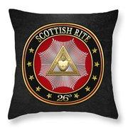 26th Degree - Prince Of Mercy Or Scottish Trinitarian Jewel On Black Leather Throw Pillow