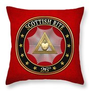 26th Degree - Prince Of Mercy Or Scottish Trinitarian Jewel On Red Leather Throw Pillow