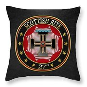 27th Degree - Knight Of The Sun Or Prince Adept Jewel On Black Leather Throw Pillow