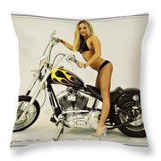 Models And Motorcycles Throw Pillow