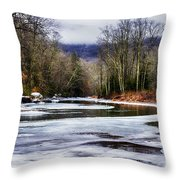 Winter Along Williams River Throw Pillow