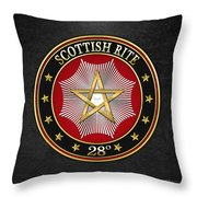 28th Degree - Knight Commander Of The Temple Jewel On Black Leather Throw Pillow