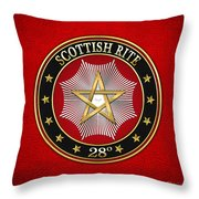 28th Degree - Knight Commander Of The Temple Jewel On Red Leather Throw Pillow