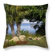 Melbourne Beach Pier In Florida Throw Pillow