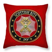 29th Degree - Scottish Knight Of Saint Andrew Jewel On Red Leather Throw Pillow