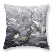 Flock Of Common Crane  Throw Pillow