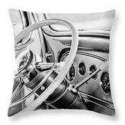 1933 Pontiac Steering Wheel -0463bw Throw Pillow
