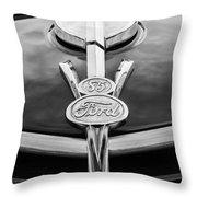 1937 Ford Pickup Truck V8 Emblem Throw Pillow