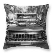 1960 Cadillac Eldorado Biarritz Convertible Painted Bw Throw Pillow